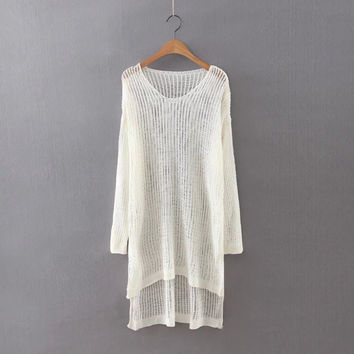 Autumn Women's Fashion Hollow Out Knit Tops Sweater [8542262023]