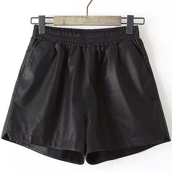 Black Elastic Waist  Faux Leather Shorts