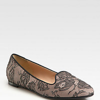 Lace Smoking Slippers - Zoom - Saks Fifth Avenue Mobile