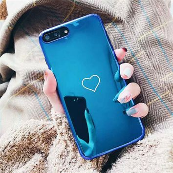 Lovely Blue Ray Love Heart Case For iphone X 7 7 Plus 6 6s Plus Soft TPU Silicone Mirror Case For iphone 8 8 Plus Back Cover Gel