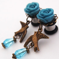 Glamsquared — Bird on my Shoulder Dangle Plugs - Nature Ornithology Kitsch