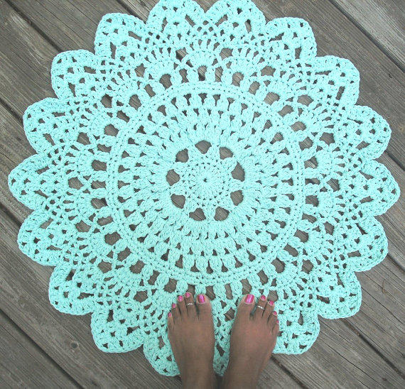 Robins Egg Blue Cotton Crochet Doily Rug From By Camille