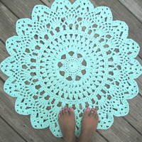 "Robins Egg Blue Cotton Crochet Doily Rug in 30"" Circle Lacy Pattern Non Skid"