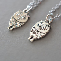 best friend necklace set, owl necklace, friendship necklace, silver owl jewelry, small owl necklace, bff necklace, best friend gift, friends