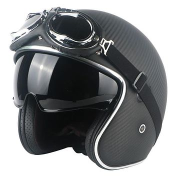 TORC Wicked Design Carbon Fiber Vintage Open Face DOT Approved Motorcycle Helmet with Inner Visor