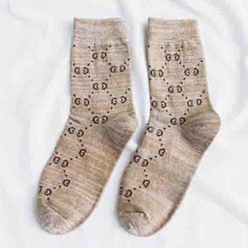 GUCCI Autumn and winter new fashion more letter print thick long sock women Khaki