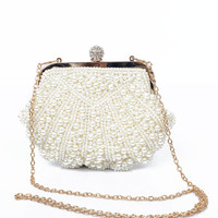 Ivory Pearl Snap Clutch