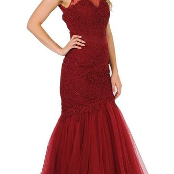 Burgundy Appliqued Mermaid Long Formal Dress Cut-Out Back