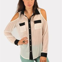 Olivia Open Shoulder Top - Ivory at Necessary Clothing