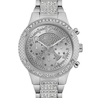 Silver-Tone Glitzy Dress Watch at Guess