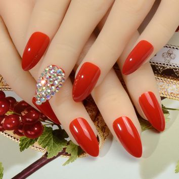 AB rhinestone Bling Bling Nail Art False Red Pointed fake stiletto nails full cover Finished free stickers