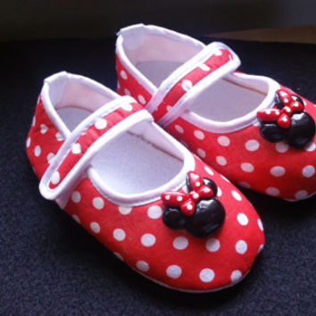 Minnie Mouse Baby Shoes, Flat Baby Shoes,Christening baby shoes, Wedding baby shoes, Velcro baby shoes, Wedding, Red,Polka Dot Ready to ship