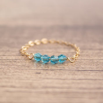 14k Gold Filled / Sterling Silver Chain Blue Crystal Ring