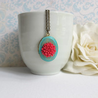 Red Chrysanthemum Verdigris Patina Oval Locket. Shabby Chic Locket. Secret Compartment, hiding place, Photo/Trinket Locket Antiqued Necklace