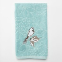 Birds & Blooms Embroidered Hand Towel (Blue)