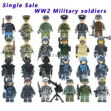 Single Sale WW2 Russian Italy Us Germans British Military Army Soldiers Building Blocks Compatible Legoed weapons Toy Figures