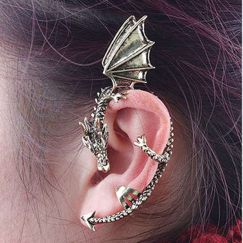 Pygmy Dragon Ear Cuff. Gold Finish. Dragon. Earring. Fantasy. Magic. Lord of the Rings. Harry Potter. Clip On. Earrings. Ready to Ship