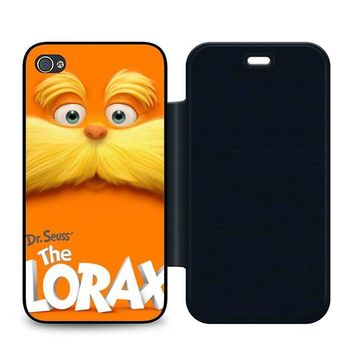Dr Seuss Lorax Face Leather Wallet Flip Case iPhone 4 | 4S
