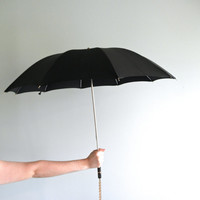 Vintage Umbrella Black With Gold Decorative Handle Chain and Case Antique Umbrella Black Parasols