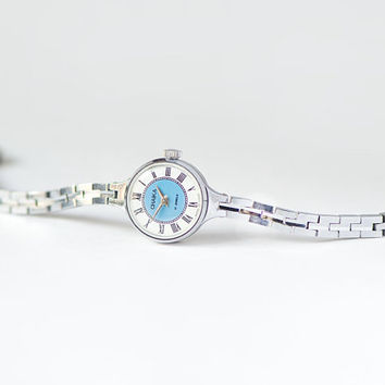 Cocktail watch blue face Seagull, roman numerals women's wrist watch, silver shade watch small, grad gift watch small wrist mechanical watch