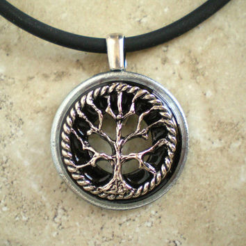 Tree of Life Necklace: Black - Wiccan Pendant - Celtic Jewelry - Tree Jewelry - Washer Jewelry - Elemental Jewelry - Unique Jewelry