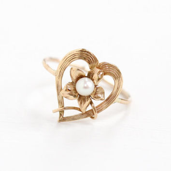 Antique Art Nouveau 10k Rose Gold Flower & Heart Ring- Vintage 1900s Victorian Edwardian Stick Pin Conversion Fine Floral Pearl Jewelry