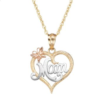 "10k Gold Tri-Tone Openwork Heart ""Mom"" Pendant Necklace"