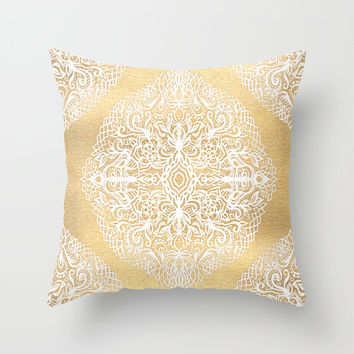 White Gouache Doodle on Gold Paint Throw Pillow by Micklyn