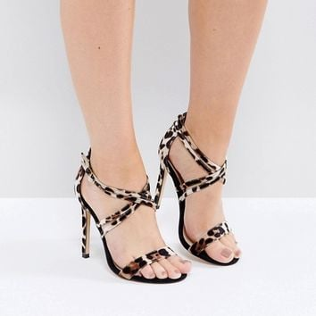 River Island Wide Fit Cross Strap Barely There Sandals at asos.com