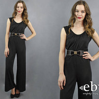 Disco Jumpsuit Black Jumpsuit 1970s Jumpsuit 70s Jumpsuit Wide Leg Jumpsuit 70s Party Jumpsuit 1970s Party Jumpsuit Minimal Jumpsuit S M