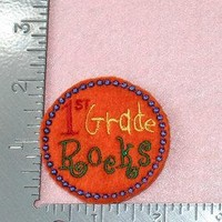 1st Grade Rocks back to school set of 4 UNCUT wholesale felties orange primary