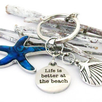 Abalone Starfish Keychain with Beach Quote
