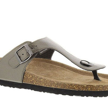 Axxiom Womens Tyne Light Pewter Slip-On Sandals