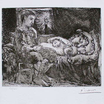 Boy Watching Over Sleeping Woman by Candlelight, Ltd Ed Litho, Picasso-Vollard