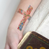 Temporary Tattoo Floral Cross - Flowers, Roses, Blue, Vintage, Religion, Christian, Catholic