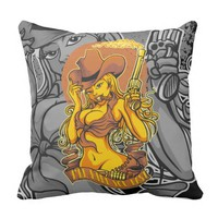 Sexy Danger CowGirl Throw Pillow
