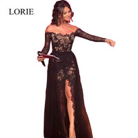 Arabic Women Long Evening Dress New Arrival Formal Dresses Jewel Neck See Through Sexy Black Lace Prom Dresses Party Gowns