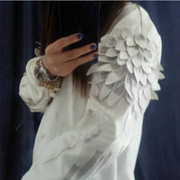 Round neck embroidered Fashion wings sweater PL1107CJ