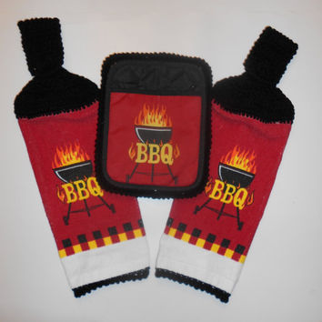 BBQ Hanging Towels & Pot Holder Set, Barbecue Grill, Crochet Kitchen Set, Red and Black