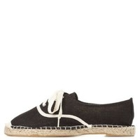 Black Bamboo Lace-Up Linen Espadrille Flats