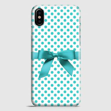 Blue Tiffany Polkadot Ribbon iPhone X Case