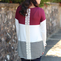 Stripe + Lace Mix Top {Wine}