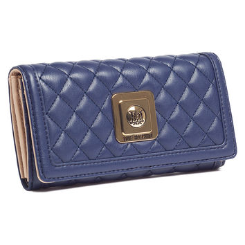 Moschino Navy Blue Compact Envelope Wallet