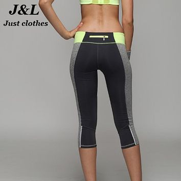 Top Quality Women Sporting Capri Leggings Short Fitness Dancing Pants, Sexy Patchwork Elastic Wicking Workout Clothes For Female