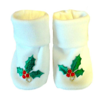 Unisex Baby Christmas Holly Booties