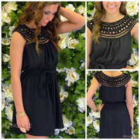 Lawson Applique Neckline Black Dress