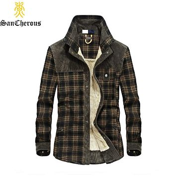 2019 New Men 100% Cotton Liner Casual Shirts Outerwear Plaid Thick Wool Liner Autumn Winter Shirt