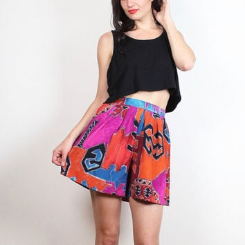 Vintage 1980s High Waisted Shorts Pink Orange Red Black Blue Southwestern Aztec Print 80s New Wave Hipster Draped Wide Leg Shorts XS S Small
