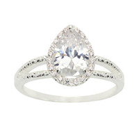 Sparkle Allure Womens Round White Silver Over Brass Engagement Ring - JCPenney