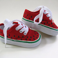 Girls Watermelon Shoes, Children's Hand Painted Red Canvas Sneakers, For Baby and Toddlers